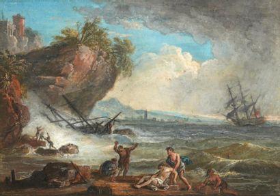 Jean-Baptiste LALLEMAND (Dijon 1716 - Paris 1803) Scène de naufrage Gouache signée...