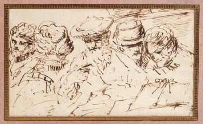 Ecole italienne du XVIIe siècle Etude de cinq têtes Plume et encre brune. H_11 cm...