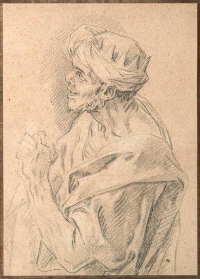 CARL VAN LOO (NICE 1705-PARIS 1765) Etude pour une tête de Roi Mage Crayon noir et...