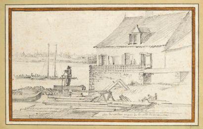 ATTRIBUÉ À CHARLES-HENRI WATELET (1718-1789) Paysage fluvial Crayon noir. H_15 cm...
