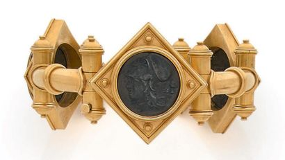 Bracelet articulé ouvrant en or 18K (750),...