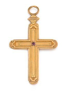 Croix-pendentif en or 18K (750) ciselée,...