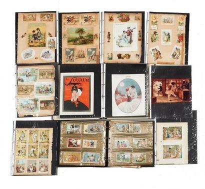 CHROMOS (3 albums), cartes, postales, planches...