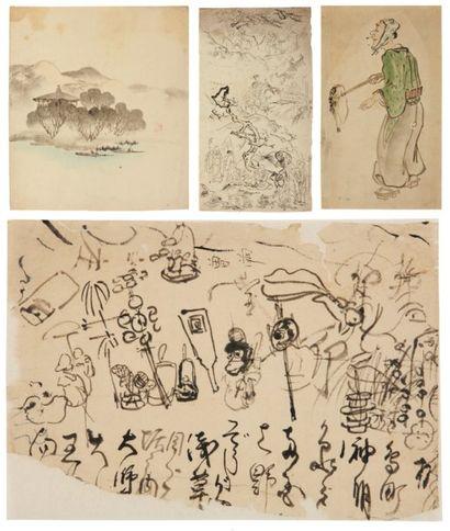 Lot de : a - Anonyme (école japonaise) Paysage...