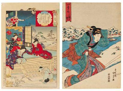 Lot de : a - Chikanobu (1838-1912) La neige...