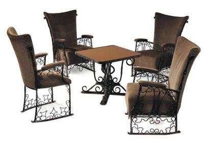 Ensemble de trois fauteuils, une chaise et...