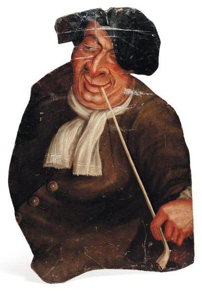 Panneau peint figurant un homme à la pipe....