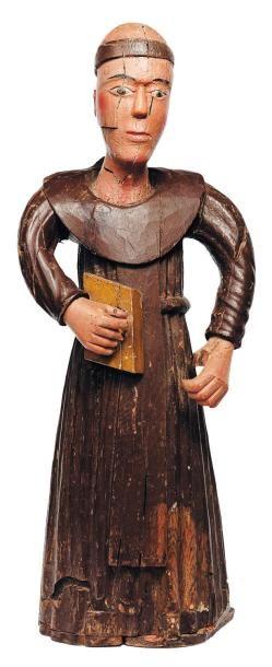 Moine en bois sculpté polychrome. Ancien...