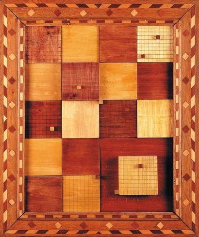 Composition de formes géométriques en bois...