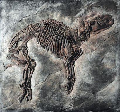 Plaque en résine représentant un cheval fossilisé....