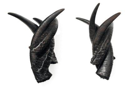 Paire de sculptures formées de cornes. H_36...