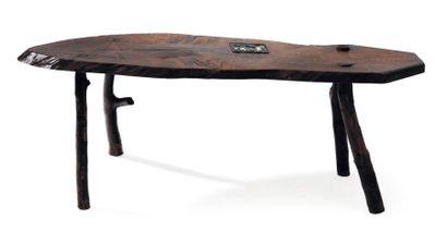 Table rustique en bois. H_45 cm L_129 cm...