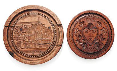 Deux moules à couques de Dinant en bois sculpté...