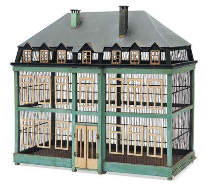 Grande cage à oiseaux en bois et fer, en...