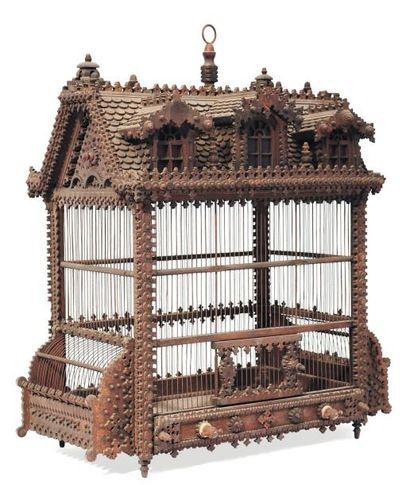 Grande cage à oiseaux en bois. H_80 cm L_73...