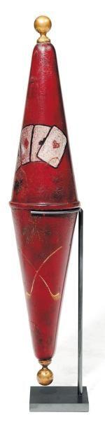 Ancienne enseigne en tôle laquée rouge décorée...