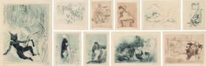 Série de dix gravures érotiques.