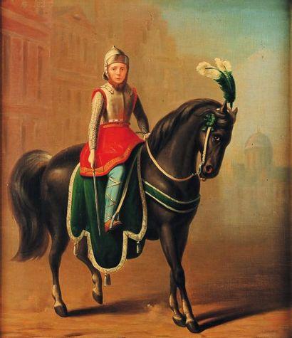 Chevalier sur son cheval Huile sur toile...