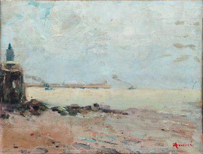Le Môle de Zeebruges Huile sur toile, datée...