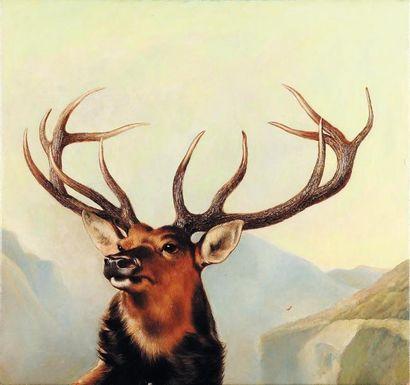 Le cerf Huile sur toile. H_61 cm L_55 cm
