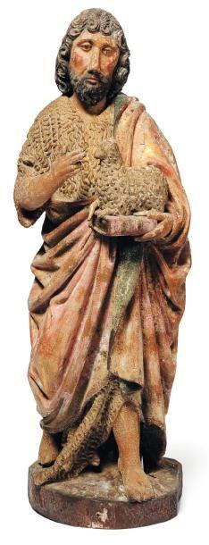 Saint Jean-Baptiste en bois sculpté, doré...
