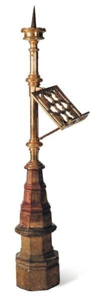 Lutrin pique-cierge en bronze avec base en...