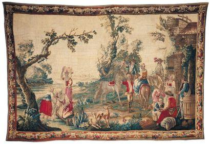 La Halte durant la chasse au faucon tapisserie de la Manufacture royale d'aubusson....