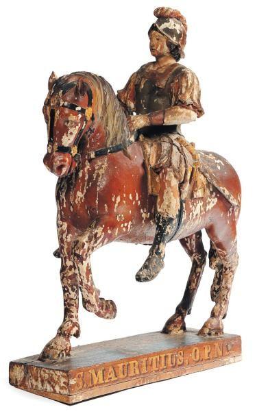 Saint Maurice à cheval en bois sculpté en...