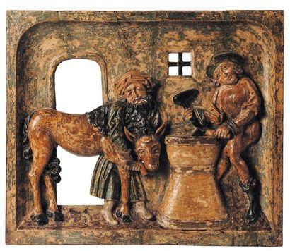 Bas-relief en bois de résineux sculpté en...