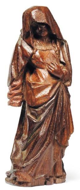 Vierge de Calvaire en chêne sculpté avec...