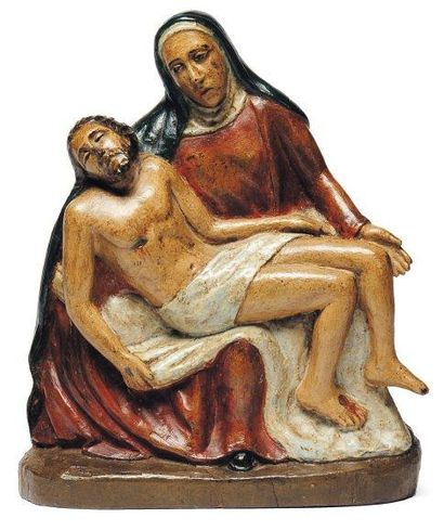 Vierge de pitié en noyer sculpté en rondebosse...