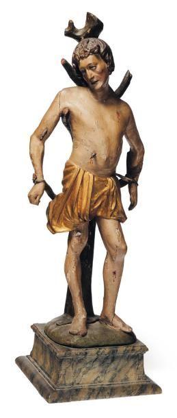 Saint Sébastien en bois sculpté en ronde-bosse,...