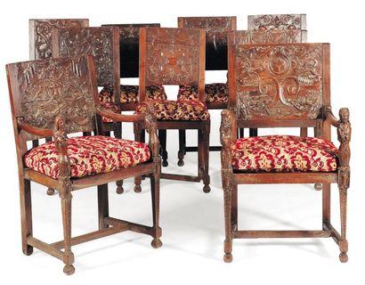 Suite de trois fauteuils et six chaises en...