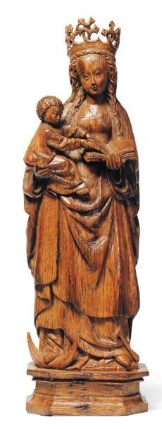 Vierge à l'enfant en chêne sculpté. Dos plat....