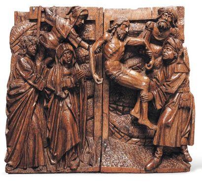 La Descente de Croix Haut-relief en chêne...