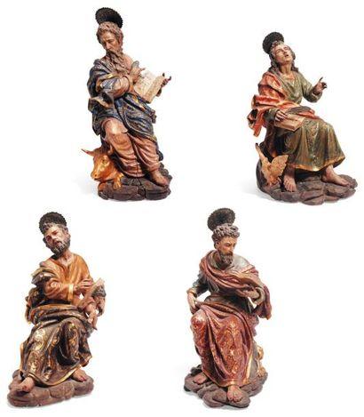Suite des quatre Evangélistes en bois polychromé,...