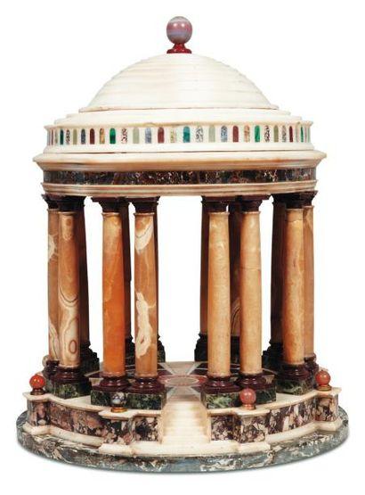 Maquette de tempietto en marbres polychromes,...