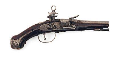 Rare pistolet miniature à silex travail de...