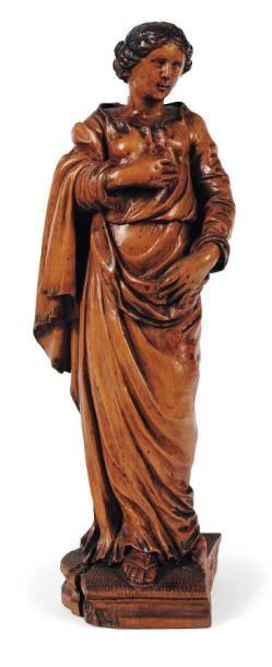 Vierge ou sainte femme en buis sculpté en...