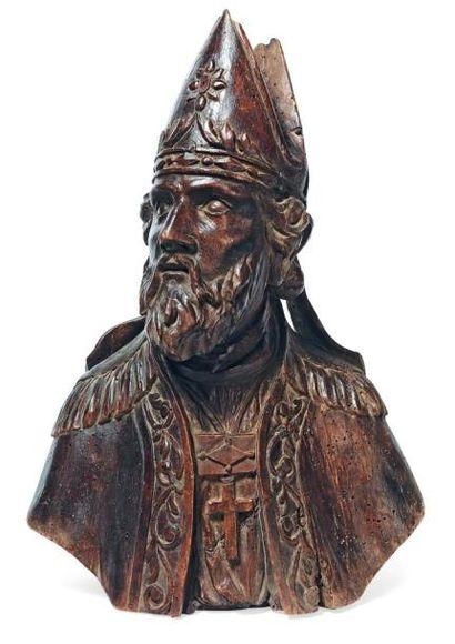 Buste d'un saint Evêque en bois sculpté en...