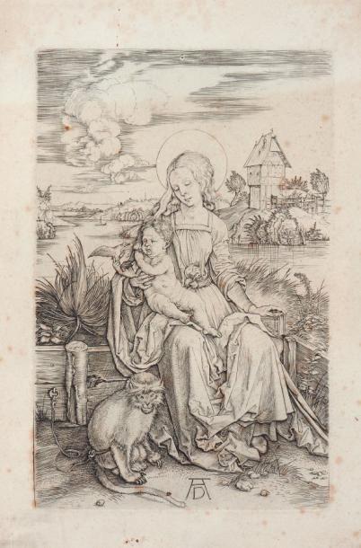 Durer « Vierge à l'enfant » gravure sur papier....