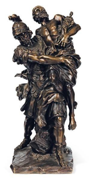Persée et Anchise bronze à patine brune....