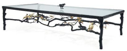 PAULA SWINNEN (NÉE EN 1964) Pièce unique Table basse aux oiseaux, papillons et libélulles...