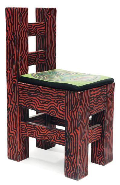 ROBERT COMBAS (NÉ EN 1957) Édition limitée Chaise d'artiste. Bois peint et assise...