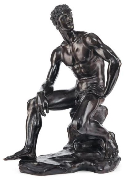 ARNO BREKER (1900-1991) Homme assis Bronze à patine verte et brune Signé sur la base...