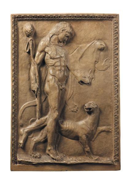 FRANZ VON STUCK (1863-1928), ATTRIBUÉ À Hercule, vers 1900 Bas-relief Plâtre patiné...