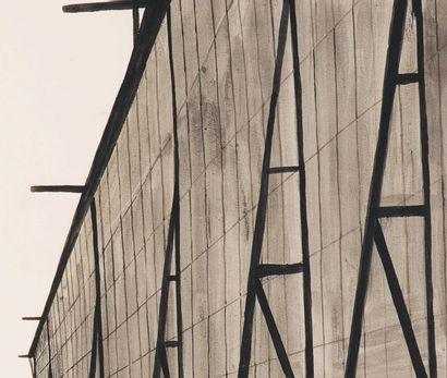 LÉON SPILLIAERT (1881-1946) Le Hangar du dirigeable, 1910 Lavis à l'encre de chine...