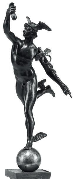 Mercure, 1900 Bronze à patine noire et dorée D'après la célèbre sculpture de Jean...