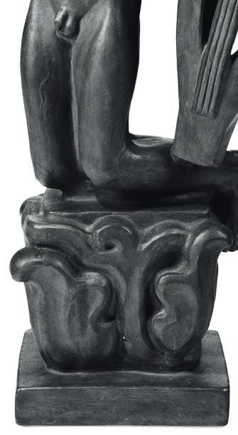 JOHN LUNDQVIST (1882-1972) Orphée, 1928 Plâtre patiné bronze Signé et daté sur la...