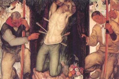 ANTO CARTE (1886-1954) Saint Sébastien, vers 1934 Huile sur panneau Signée en bas...